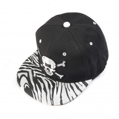 Ανδρικό μαύρο καπέλο με νεκροκεφαλή  it050618-73 2