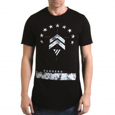 Ανδρική μαύρη κοντομάνικη μπλούζα Man it090216-71 2
