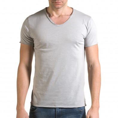 Ανδρική γκρι κοντομάνικη μπλούζα FM it090216-77 2