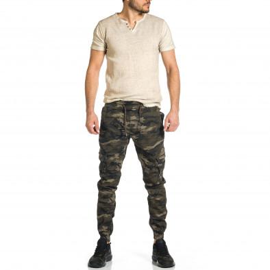 Ανδρικό μπεζ-πράσινο καμουφλαζ παντελόνι cargo tr270421-7 4
