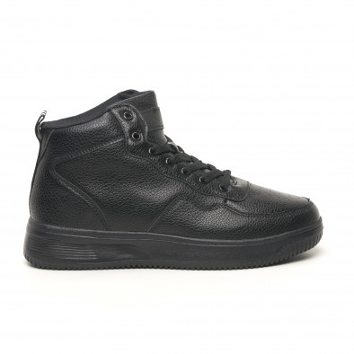 Ανδρικά ψηλά μαύρα sneakers με Shagreen design it251019-16 2