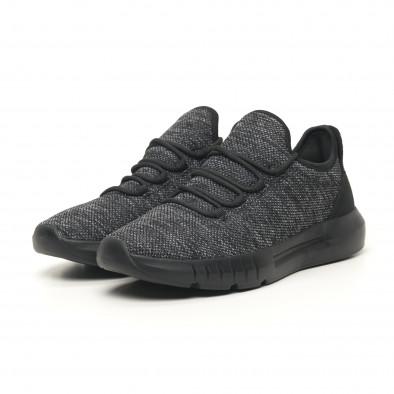 Ανδρικά μαύρα μελάνζ αθλητικά παπούτσια ελαφρύ μοντέλο it041119-6 2