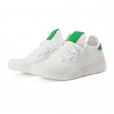 Ανδρικά λευκά αθλητικά παπούτσια με πράσινες λεπτομέρειες it020618-4 3
