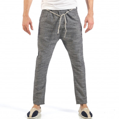 Ανδρικό γκρι παντελόνι με κορδόνι it260318-109 2
