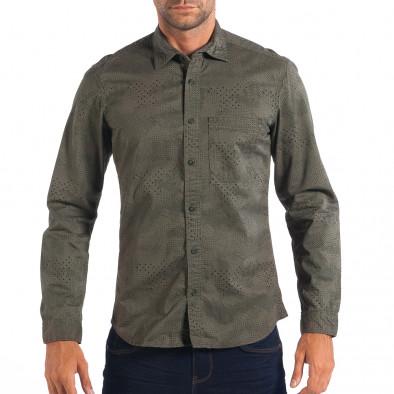 Ανδρικό πράσινο Regular πουκάμισο lp070818-112 2