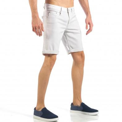 Ανδρική λευκή τζιν βερμούδα απλό μοντέλο it260318-122 4