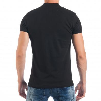 Ανδρική μαύρη πόλο με λερωμένο εφέ tsf250518-49 3