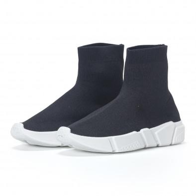 Ανδρικά μαύρα αθλητικά παπούτσια slip-on με λευκή σόλα it240418-29 3