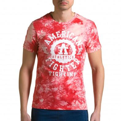 Ανδρική κόκκινη κοντομάνικη μπλούζα P2P ca190116-44 2