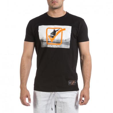 Ανδρική μαύρη κοντομάνικη μπλούζα Givova it040621-19 2