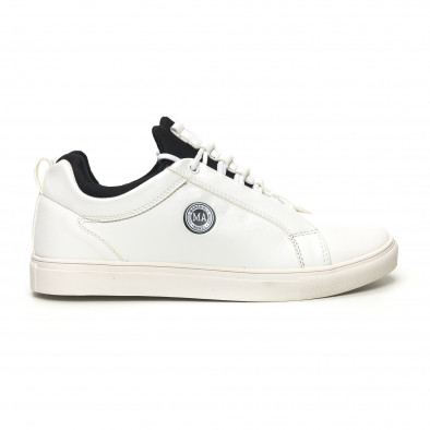 Ανδρικά λευκά sneakers με μαύρη λεπτομέρεια it051219-6 2