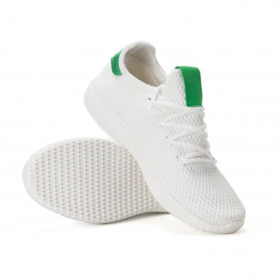 Ανδρικά λευκά αθλητικά παπούτσια με πράσινες λεπτομέρειες it020618-4 4