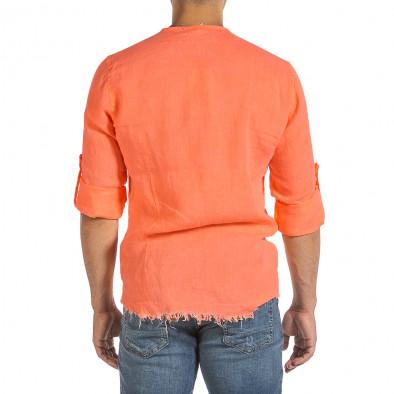 Ανδρικό πορτοκαλί λινό πουκάμισο Duca Fashion it240621-34 3