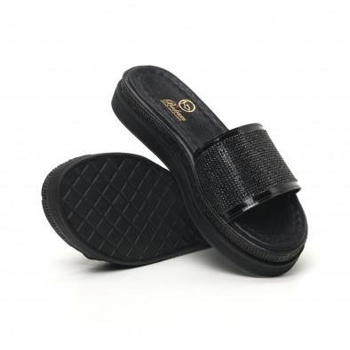 Γυναικείες μαύρες παντόφλες Bodrum tr180320-1 4