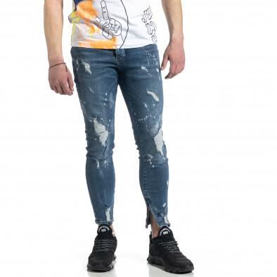 Ανδρικό μπλε τζιν με φερμουάρ στο πόδι tr270221-5 2