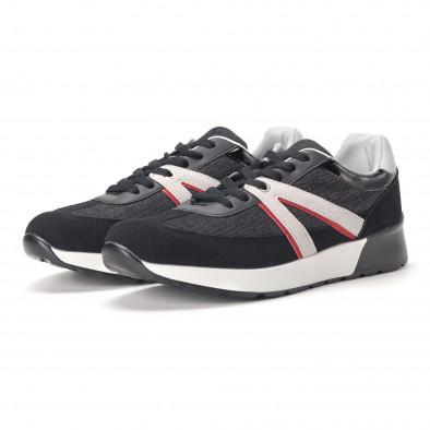 Ανδρικά μαύρα sneakers από συνδυασμό υφασμάτων it020618-19 3