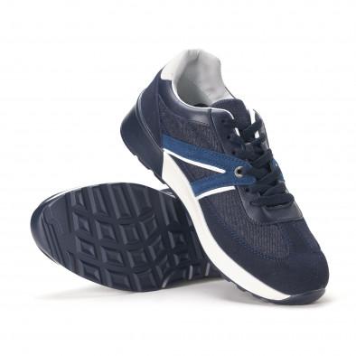 Ανδρικά μπλε sneakers από συνδυασμό υφασμάτων it020618-20 4