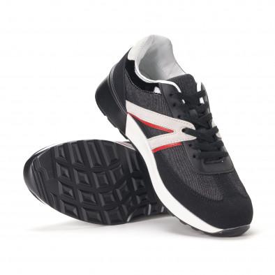 Ανδρικά μαύρα sneakers από συνδυασμό υφασμάτων it020618-19 4