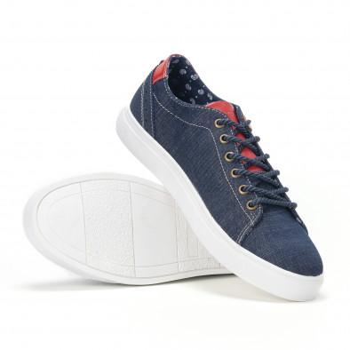 Ανδρικά μπλε τζιν αθλητικά παπούτσια με κόκκινη γλώσσα it160318-10 4