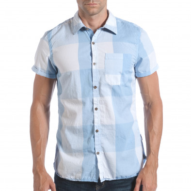 ba73e5cb19fb Ανδρικό γαλάζιο κοντομάνικο πουκάμισο CROPP lp280817-2 - Fashionmix.gr