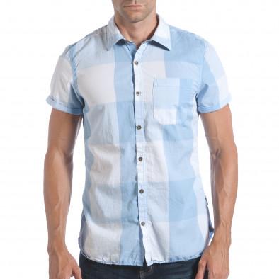 Ανδρικό γαλάζιο κοντομάνικο πουκάμισο CROPP lp280817-2 2