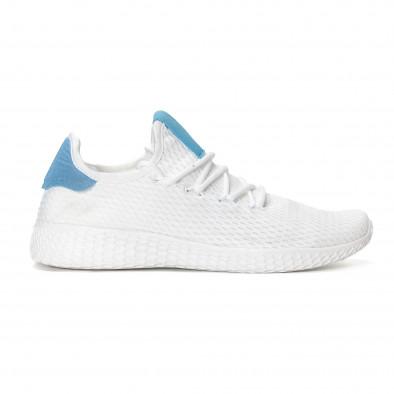 Ανδρικά λευκά ελαφρία αθλητικά παπούτσια με γαλάζιες λεπτομέρειες it240418-27 2