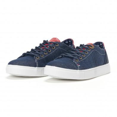 Ανδρικά μπλε τζιν αθλητικά παπούτσια με κόκκινη γλώσσα it160318-10 3