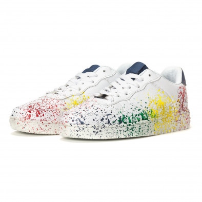 Ανδρικά λευκά sneakers με πολύχρωμο εφέ σπρέι it240418-25 3