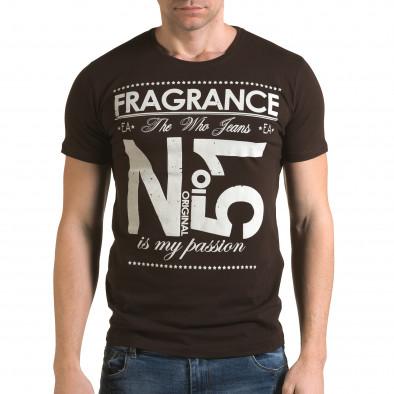 Ανδρική καφέ κοντομάνικη μπλούζα Lagos il120216-29 2