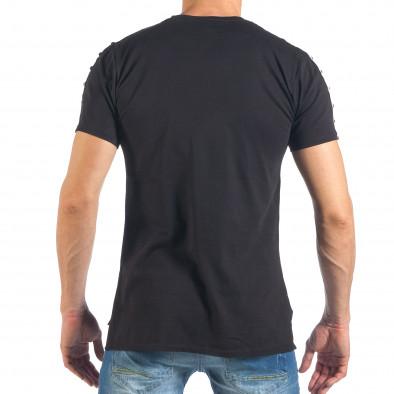 Ανδρική μαύρη κοντομάνικη μπλούζα με σχέδιο it260318-186 4