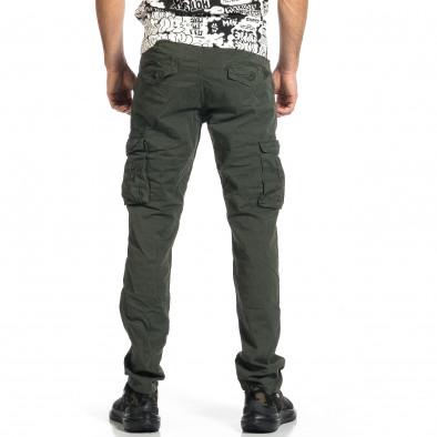 Ανδρικό πράσινο παντελόνι cargo σε ίσια γραμμή Plus Size tr270421-17 3