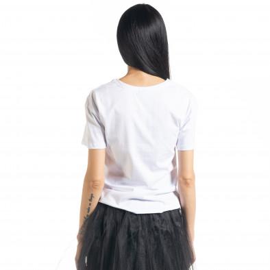 Γυναικεία λευκή κοντομάνικη μπλούζα My Universe il080620-8 3