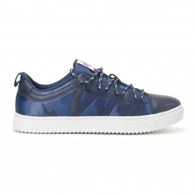 Ανδρικά μπλε sneakers παραλλαγής με κορδόνια it160318-8 2