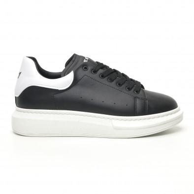 Ανδρικά μαύρα sneakers με χοντρή σόλα tr180320-34 2