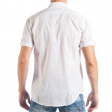 Ανδρικό λευκό κοντομάνικο πουκάμισο με μπαλώματα  it050618-3 3