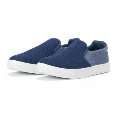 Ανδρικά μπλε sneakers slip-on από τζιν ύφασμα it160318-12 3