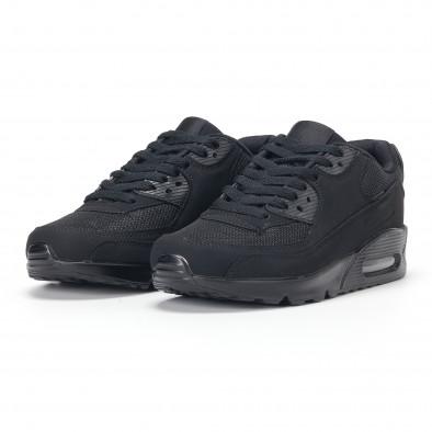 Ανδρικά μαύρα αθλητικά παπούτσια με σόλες αέρα it160318-1 3