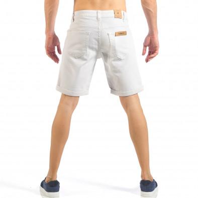 Ανδρική λευκή τζιν βερμούδα απλό μοντέλο it260318-122 3