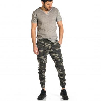 Ανδρικό γκρι-πράσινο καμουφλαζ παντελόνι cargo tr270421-6 4