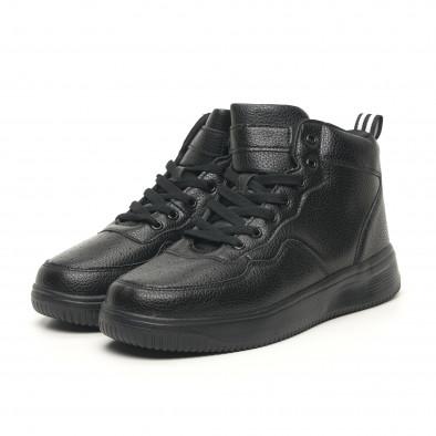 Ανδρικά ψηλά μαύρα sneakers με Shagreen design it251019-16 3
