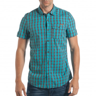 cacbbc5e0f8b Ανδρικό γαλάζιο κοντομάνικο πουκάμισο CROPP lp180717-136 - Fashionmix.gr