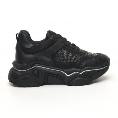 Γυναικεία μαύρα sneakers Seribo tr180320-17 3