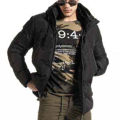 Ανδρικό μαύρο χειμωνιάτικο μπουφάν Bread & Buttons it301020-10 2
