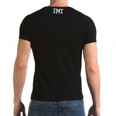 Ανδρική μαύρη κοντομάνικη μπλούζα Glamsky il120216-64 3
