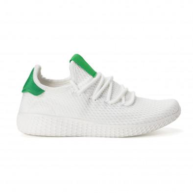 Ανδρικά λευκά αθλητικά παπούτσια με πράσινες λεπτομέρειες it020618-4 2