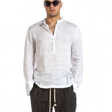 Ανδρικό λευκό λινό πουκάμισο Made in Italy it240621-35 2