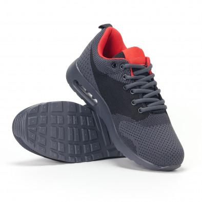Ανδρικά σκούρο γκρι αθλητικά παπούτσια με σόλες αέρα it160318-20 4