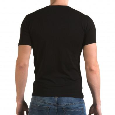 Ανδρική μαύρη κοντομάνικη μπλούζα Lagos il120216-51 3