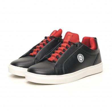 Ανδρικά μαύρα sneakers με κόκκινη λεπτομέρεια it051219-5 3