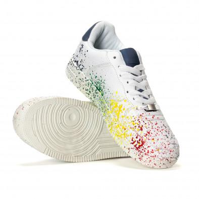 Ανδρικά λευκά sneakers με πολύχρωμο εφέ σπρέι it240418-25 4